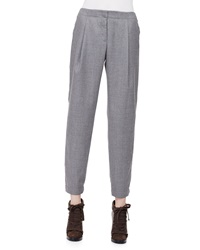 Akris Punto Smocked Cuff Pleated Ankle Pants