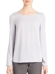 Armani Collezioni Charmeuse Long Sleeve Blouse White