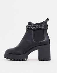 Bershka Gem Detail Heeled Boots In Black