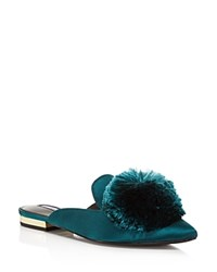 Charles David Wella Satin Pom Pom Pointed Toe Mules Hunter Green
