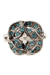 Savvy Cie Sterling Silver Pave White And Blue Diamond Floral Ring 0.40 Ctw