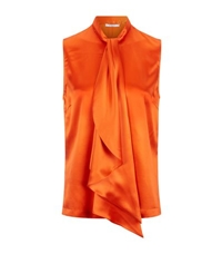 Givenchy Sleeveless Silk Tie Neck Blouse