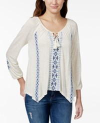 American Rag Embroidered Tassel Tie Peasant Blouse Only At Macy's