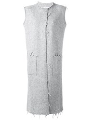 Maison Martin Margiela Raw Edge Sleeveless Coat Grey