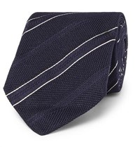 Kingsman Drake's 8Cm Striped Silk Jacquard Tie Navy