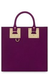 Sophie Hulme Square Leather Tote Burgundy Plum
