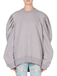 Marques Almeida Ribbed Puff Sleeve Pullover Grey