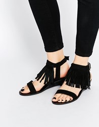 Asos Fabio Fringe Mini Wedge Sandals Black
