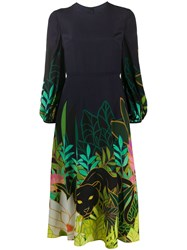 Valentino Panther In The Jungle Midi Dress Blue