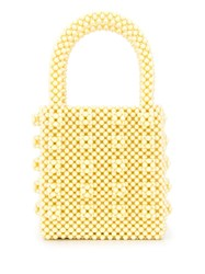 Shrimps Embellished Beaded Tote Yellow