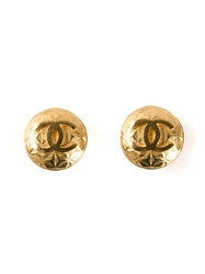 Chanel Vintage Button Logo Clip On Earrings Metallic
