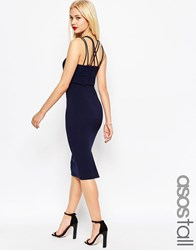 Asos Tall Multi Strap Midi Bodycon Pencil Dress Navy