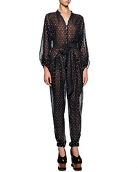 Stella Mccartney Gold Dotted Tie Front Tapered Jumpsuit Midnight