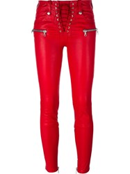Unravel Lace Fastening Skinny Trousers Red