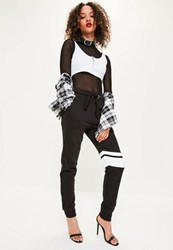 Missguided Black Contrast Thigh Stripe Detail Joggers