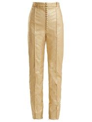 Hillier Bartley Glam Metallic Faux Leather Trousers Gold