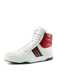 Gucci Contrast Padded Leather High Top Sneaker White