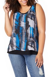 Rebel Wilson X Angels Plus Size Print Overlay Tank Painted Graphite W Black