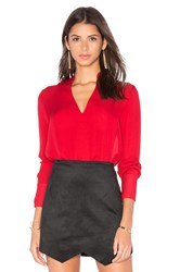 Alice Olivia Daina High Low Blouse Red