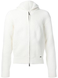 Dsquared2 Knitted Zip Hoodie White