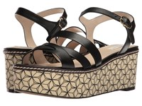 Cole Haan Jianna Wedge Black Leather Black White Prism Print Women's Shoes