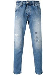 Cycle Distressed Cropped Jeans Men Cotton 30 Blue