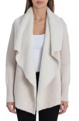 Bagatelle Faux Shearling And Knit Jacket Cream