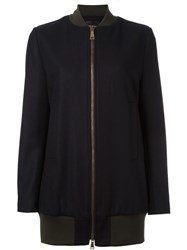 Erika Cavallini Long Length Bomber Jacket Blue