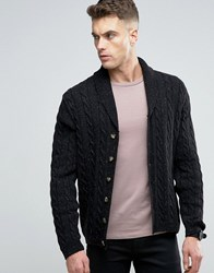 Asos Shawl Neck Cable Cardigan In Wool Mix Black Nep