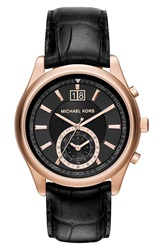 Michael Michael Kors 'Aiden' Chronograph Leather Strap Watch 43Mm Black Rose Gold