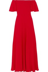 Valentino Off The Shoulder Silk Georgette Gown Red