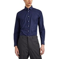 Brooklyn Tailors Plaid Cotton Poplin Dress Shirt Navy