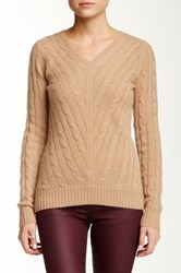 Sofia Cashmere Cable V Neck Cashmere Sweater Brown