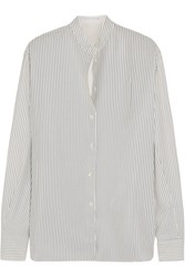 Victoria Beckham Striped Silk Crepe De Chine Shirt White