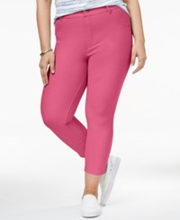 Hue Women's Plus Size Essential Denim Capri Leggings Flamingo Pink
