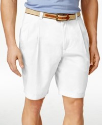 Club Room Men's Double Pleated Shorts Only At Macy's Bright White