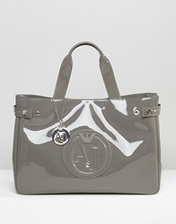 Armani Jeans Patent Tote Bag In Taupe Taupe Beige