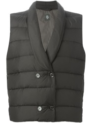Eleventy Double Breasted Padded Gilet Black