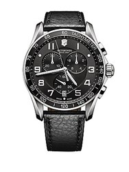 Victorinox Mens Classic Xls Stainless Steel And Leather Chronograph Watch Black