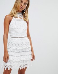 Girl In Mind High Neck Layered Lace Mini Dress White