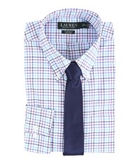 Lauren Ralph Lauren Check Classic Button Down Shirt White Purple Turquoise Men's Long Sleeve Button Up