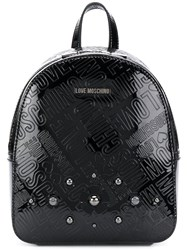 Love Moschino Embossed Logo Mini Backpack Black