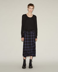 R 13 Asymmetric Drop Short Blue Plaid