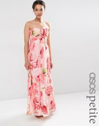 Asos Petite Wedding Floral Printed Rouched Bandeau Mesh Maxi Dress Multi