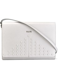 Tod's Studded Clutch Grey