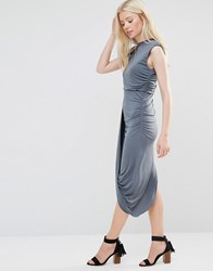 Wal G Dress With Asymmetric Hem Grey