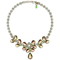 Eclectica Vintage 1950S Chrome Plated Watermelon Tourmaline Necklace Pink Green