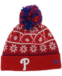 New Era Philadelphia Phillies Sweater Chill Pom Knit Hat Red Blue