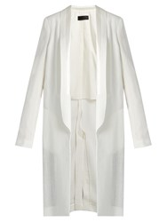Haider Ackermann Agrippina Satin Lapel Linen Coat Ivory