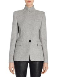 Alexander Mcqueen Asymmetrical Wool Jacket Grey